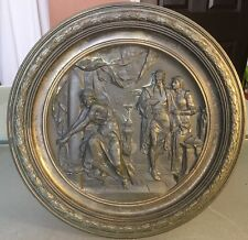 "Vintage Antique E Picault Bronze Plaque - MacBeth - 12.25"" In Diameter"
