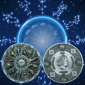 1pcs Twelve Constellations Metal Coin Holiday Gifts Art Ornament for Collection