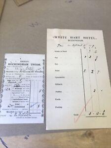 Old Buckingham Documents 1897, 1907  Seen White Hart Inn Stables Billiards Etc