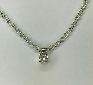 Tiffany Co Sterling Silver Berry Marlow Natural .17 Ct. Diamond Necklace