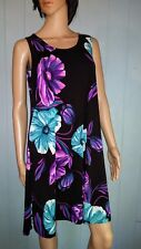 Jostar BLACK Tropical Flowers Slinky TANK DRESS Wrinkle Free Travel Fabric S