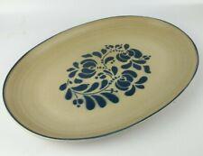 """Pfaltzgraff Folk Art Stoneware 14"""" Oval Serving Platter Tan/Blue Floral - GREAT"""