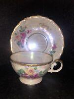 Vintage Pedestal Tea Cup & Saucer Royal Halsey Style  Pink Roses Heavy Gold Trim