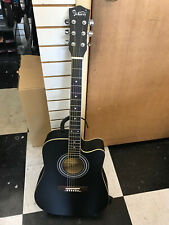 glarry acoustic guitar with a cutaway in black