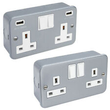 METAL CLAD 13 Amp Double 2 Gang Switched Socket Industrial Wall USB Plug Socket