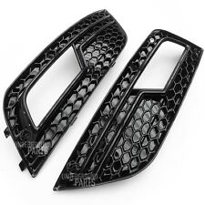 AUDI A4 RS4 STYLE ALL BLACK SPORT HONEYCOMB MESH FRONT FOG LIGHT COVERS GRILLES