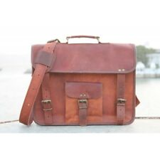 "Bag Vintage Leather Laptop 15"" Messenger Handmade Briefcase Crossbody Shoulder"