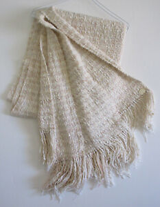 "Vintage Chris O'Connell Mohair Throw with Fringe 30"" x 80"""