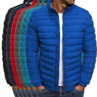 Men's Lightweight Windproof Warm Color Pure Jacket  Zipper Overcoat Outwear LO