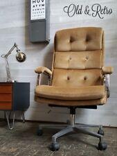 Vintage Retro Mid Century chrome Desk OFFICE Swivel Chair 1970s eames era superb