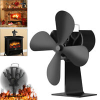 4-Blade Heat Powered Stove Fan Log Wood burner Fireplace Ecofan Quiet Black