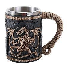 Gothic Skeleton Dragon Skull Tankard Beer Stein 16 oz Stainless Steel Insert
