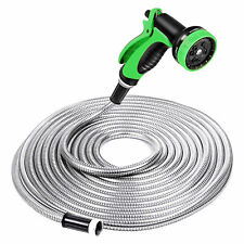Specilite 50 Foot Stainless Steel 10 Spray Pattern Nozzle Garden Hose Open Box