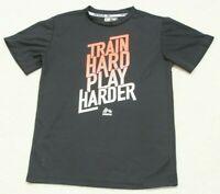 RBX Black T-Shirt Boys Solid Short Sleeve Large 14/16 Train Hard Play Harder Top