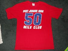 # 50 Mile Club ~ PEET Junior High~  Red Tee  ~ Sz Med ~ Short Sleeve