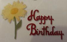 Sizzix Sizzlits HAPPY BIRTHDAY FLOWER Medium Die Cutter Fit Cuttlebug & Big Shot