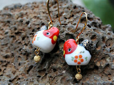 Posh chicken earrings - porcelain red, white, black and gold roosters - handmade
