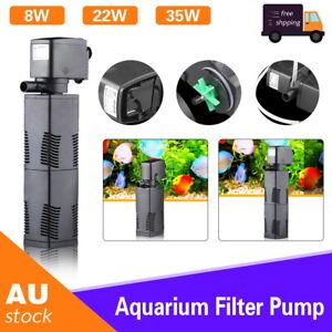 3 in 1 Fish Tank Aquarium Submersible Water Power Filter Pump Pond 600-1600L/H