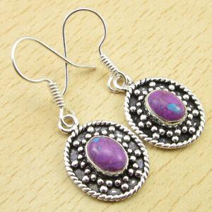925 Silver PlatedPurple Copper Turquoise VINTAGE STYLE LADIES' Earrings Jewelry