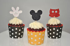 12 Mickey Mouse Glitter Cupcake Toppers Head, Pants & Gloves 1st Birthday Party
