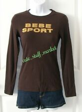 BEBE SPORT STUD & FOIL LOGO LONG SLV TEE T SHIRT CHOCOLATE BROWN XS EXTRA SMALL