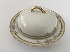 Noritake China POINCIANA Pink Roses Blue Band Gold COVERED BUTTER DISH & INSERT