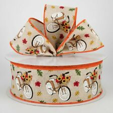 """2.5"""" wired ribbon fall vintage bicycle with sunflowers linen canvas 7+ yards"""