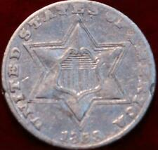 1858 Philadelphia Mint Silver Three Cent Coin