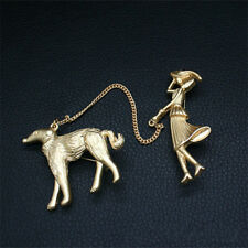 Vintage Matte Gold Tone Woman Lady Walking Borzoi Dog 2-Part Chain Brooch Pin