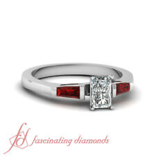 .90 Ct Baguette Unique 3 Stone Engagement Ring With Ruby And Radiant Cut Diamond