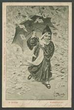 c.1900 AK Postcard POSTKARTENREGEN RAINING POSTCARDS Artist Signed F. Doubek