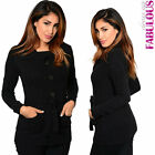 New Sexy Womens Jumper Jacket Cardigan Size 6-12 Trendy Stylish Casual Outerwear