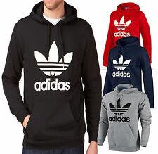 Adidas Originals Men's Trefoil Fleece Sweatshirt Hoodie (Black- Grey -Navy -Red)
