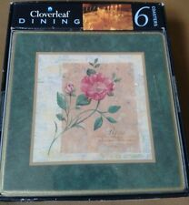BOXED SET OF 6 CLOVER LEAF DINING  COASTERS LILIUM AND ROSA
