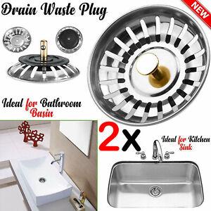 2x Premium Stainless Steel Kitchen Sink Strainer Drainer Replacement Waste Plug