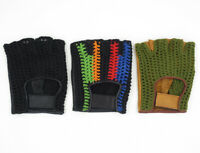 Bike Bicycle Riding Vented Crochet Knit Cycling Gloves Summer Fingerless Leather