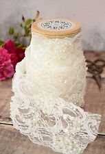 Ivory Pearl Beaded Lace Trimming - 1m. Luxury Embroidered Wedding Lace Ribbon.