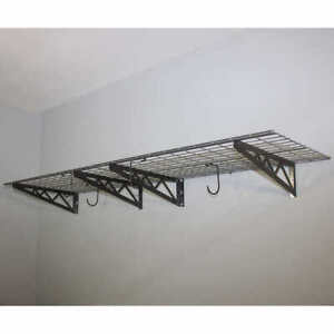 SafeRacks Wall Shelf Combo Kit, Two Shelves, Four Deck Hooks (C) Garage (Grey)