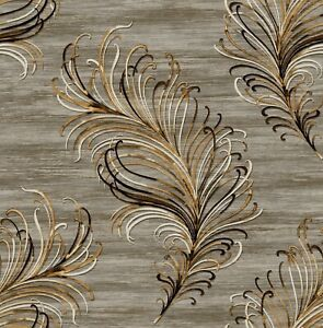 """Metallic Silver and Gold Abstract Feather Wallpaper Bolt -  20.5"""" x 396"""" Roll"""
