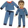 "Doll Clothes 18"" Pajamas Blue Stripe PJs  For American Girl or Boy Logan"