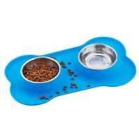 Pet Dog Bowls 2 Bol pour Chien en Acier Inoxydable avec Tapis Anti-DéRapant B7T8