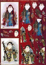 PRECUT PATCHWORK SANTA CHRISTMAS TOLE CARDS DIMENSIONAL KIT  ORNAMENT COLLAGE