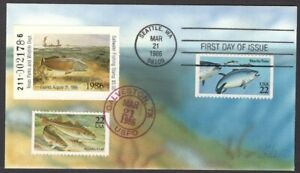 USA Collins hand painted FDC 1986 Texas Duck stamp $5 Saltwater Fishing