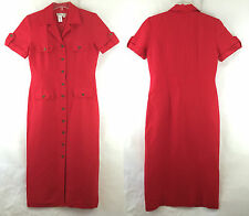 Coldwater Creek Women's 8 Red Dress Mid-Calf Linen Blend Short Sleeve Sheath