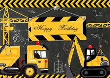 7X5FT Blackboard Construction Party Birthday Vinyl Studio Backdrop Background