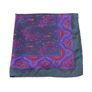 Polo Ralph Lauren Pocket Square Silk Green Paisley Italy Vintage Handkerchief