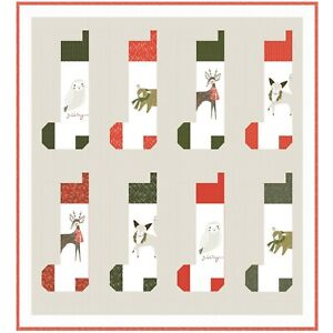 """Stockings Quilt Kit 55"""" x 56"""" with Moda Merriment Fabric by Gingiber"""