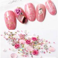 3D DIY Nail Art Rose Jewelry Gems Mix Nail Art Decoration Glitter Rhinestones H7
