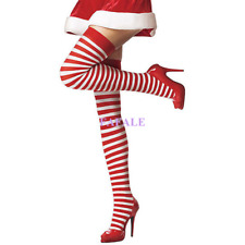 Sexy Stripe Socks Hold Ups Ladies Hooped Christmas Fancy Dress Halloween Costume