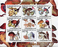 Turkmenistan Stamps 2000 MNH Birds & Mushrooms Finches Fungi Nature 9v M/S
